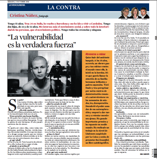 "Cristina Nuñez's interview on ""La Contra"", the back cover of one of the main newspapers in Spain: La Vanguardia."