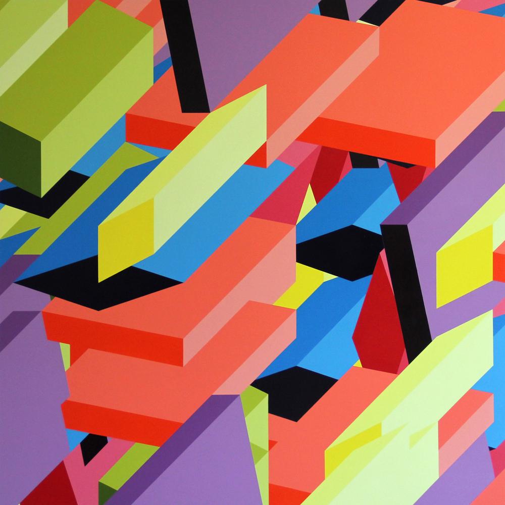 "M2, 2012, 48""×48"" acrylic on Sintra"