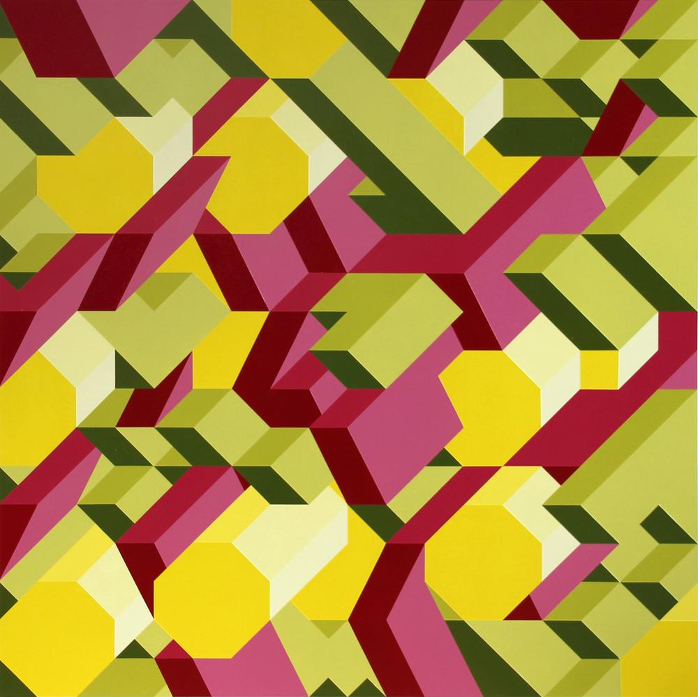 "M4, 2013, 48""×48"" acrylic on Sintra"