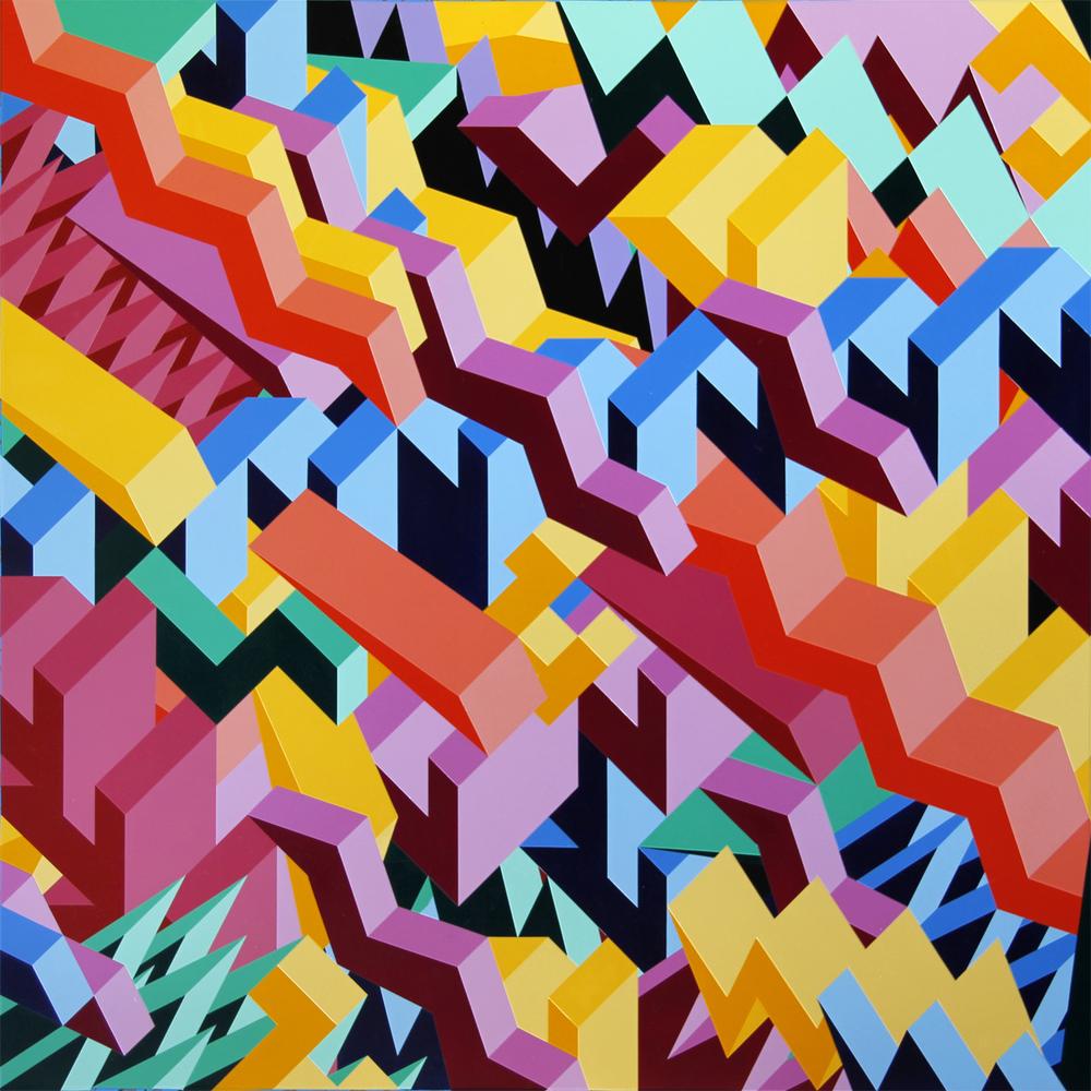 "M5, 2013, 48""×48"" acrylic on Sintra"