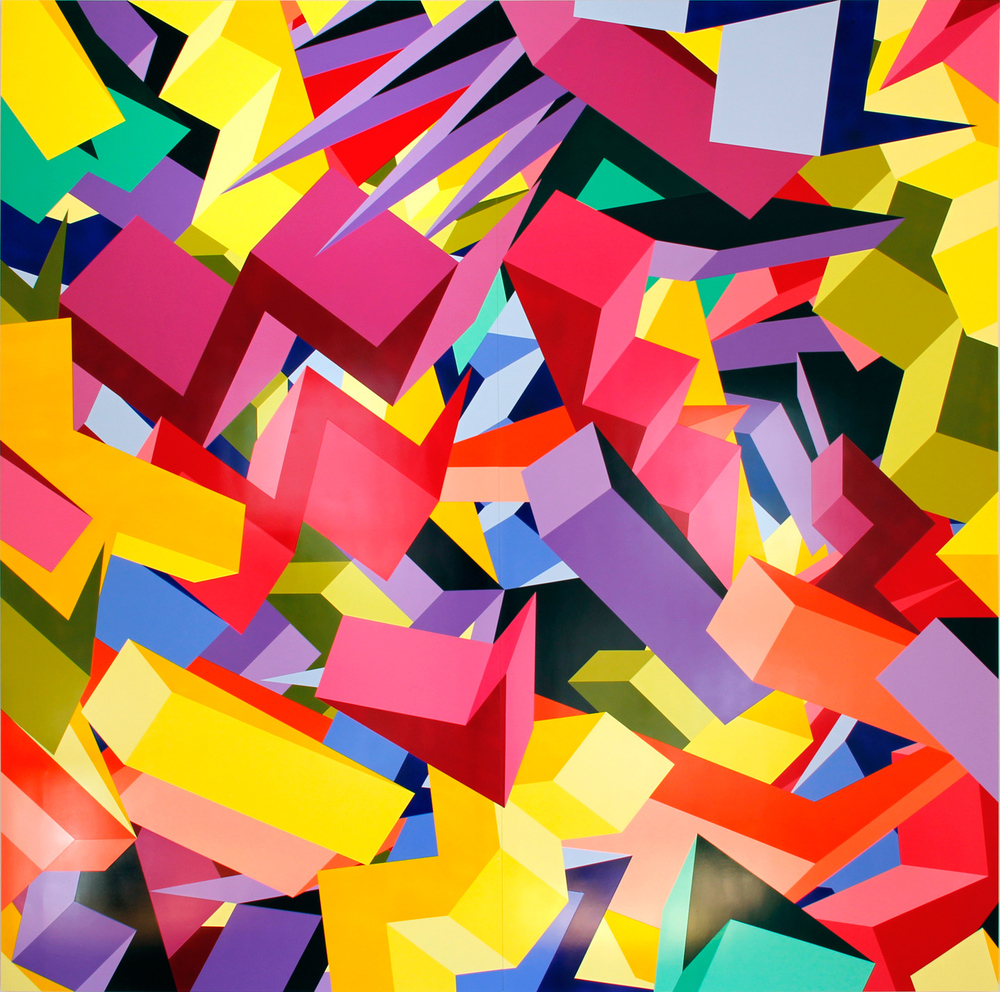 "L1, 2013, 96""×96"" acrylic on Sintra"