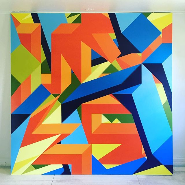 I'm really happy with this finished painting, 96 inches square. A little too big for the studio.  #bigpainting #painting #geometry #geometricart #abstractpainting #abstractart #color #shape #isometric #blue #orange #green #yellow #finished