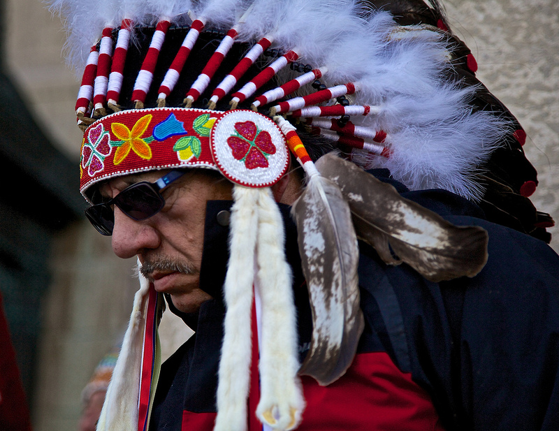 First Nations elder listens