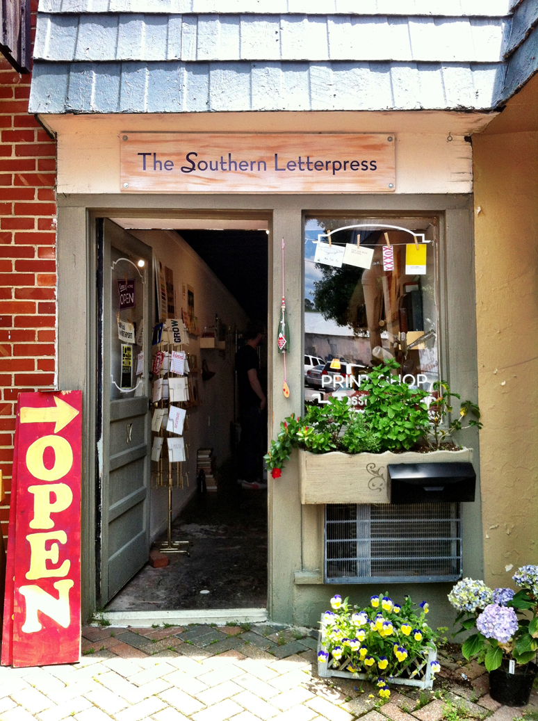 Stopped at Jessica Peterson's The Southern Letterpresson our drive from Greensboro to Birmingham. Jessica taught me everything I know about letterpress printing and she is amazing.