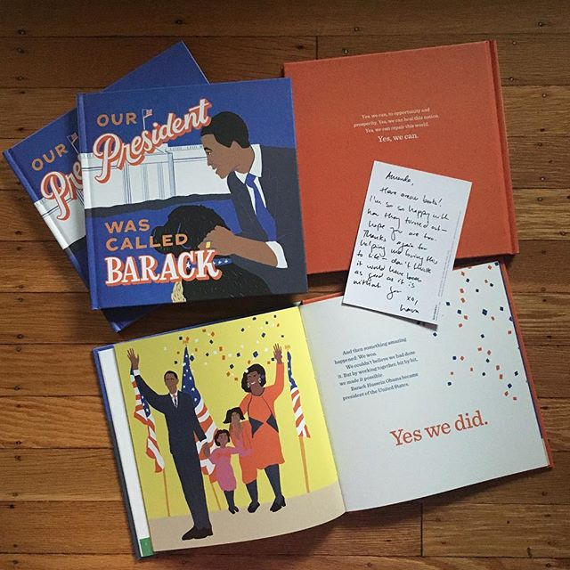 The books have arrived! Proud to have played even a small role in this project (layout design & production management). This book is a great achievement — congrats Laura! Written and kickstarted by @lauraolin / illustrated by @franziska / cover lettering by @francesblank  #barackbook #yeswecan