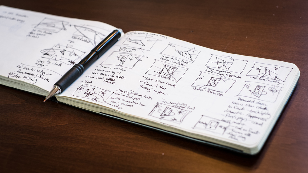 Launch video storyboard thumbnail sketches