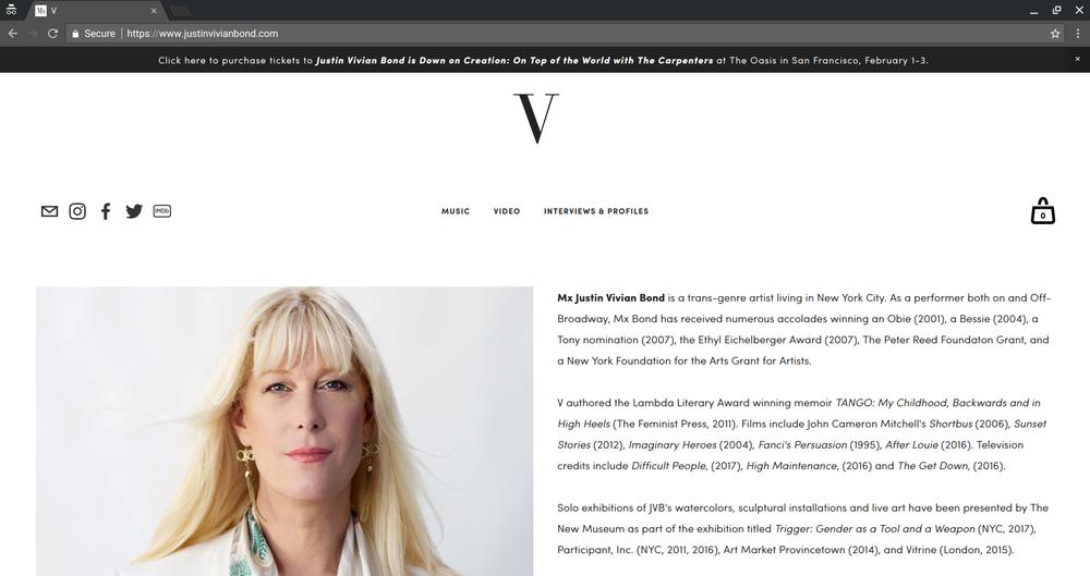 Client:  Mx Justin Vivian Bond