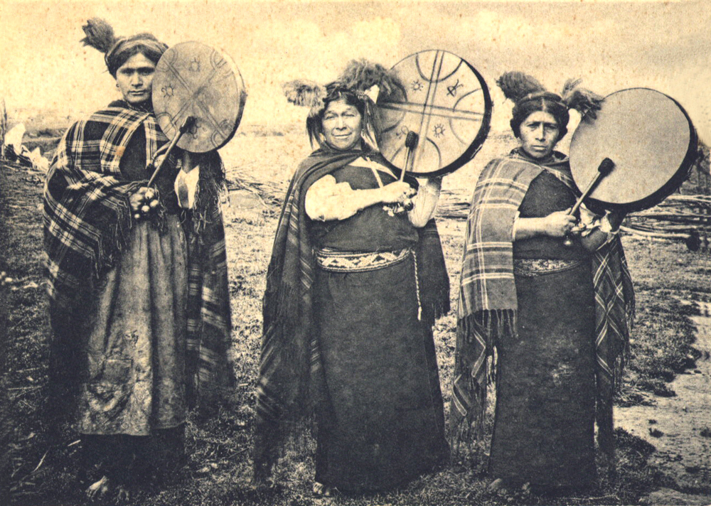 """Mapuche Machis"" by Sara wachita ;) - http://www.chilecollector.com/archwebpost/archwebposttemas/postaraucanos_2.html. Licensed under Public Domain via Commons - https://commons.wikimedia.org/wiki/File:Mapuche_Machis.jpg#/media/File:Mapuche_Machis.jpg"