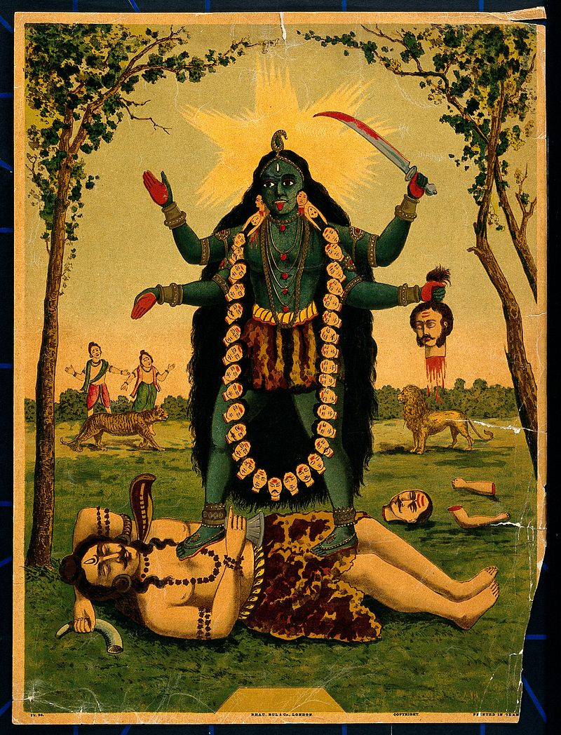 """Kali; standing triumphantly over Shiva. Chromolitho Wellcome V0045066"" by http://wellcomeimages.org/indexplus/obf_images/ba/23/1aa771945339358359de087d3a8d.jpgGallery: http://wellcomeimages.org/indexplus/image/V0045066.html. Licensed under CC BY 4.0 via Commons - https://commons.wikimedia.org/wiki/File:Kali;_standing_triumphantly_over_Shiva._Chromolitho_Wellcome_V0045066.jpg#/media/File:Kali;_standing_triumphantly_over_Shiva._Chromolitho_Wellcome_V0045066.jpg"