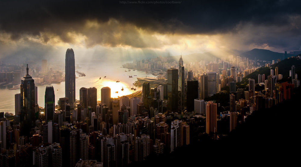 Found this great image of light coming through storm clouds in Hong Kong online. The source page seems to have been deleted, otherwise I'd love to credit whomever took the picture.