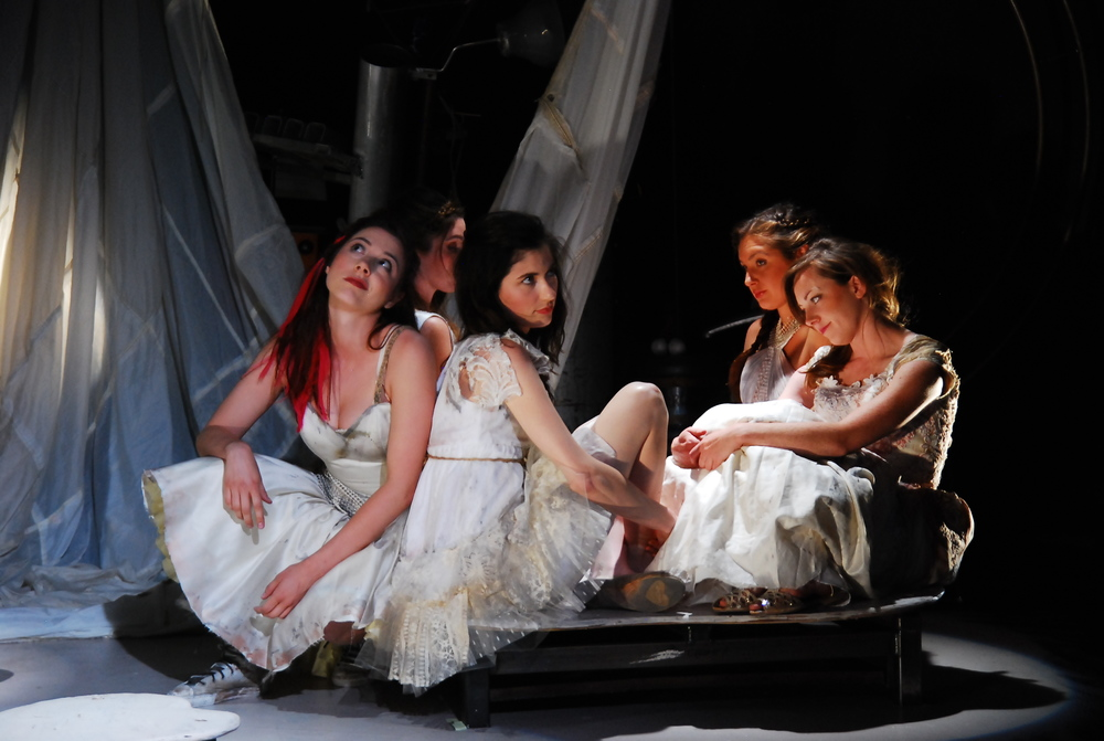 Rachel Grate, Mercedes Manning, Robyn Buck, Sage Howard, and Jennice Butler in  The Pliant Girls , Fugitive Kind's Ovation Award-winning production loosely based on Aeschylus's  The Suppliants .  Photo courtesy of Amanda McRaven   Download print quality (300 dpi)