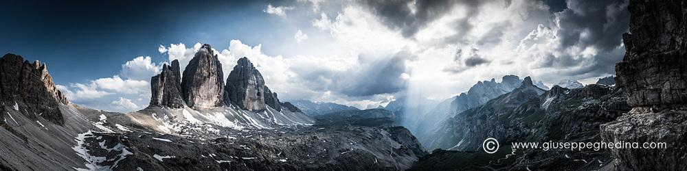 Dolomiti: panorama verso le Tre Cime di Lavaredo.