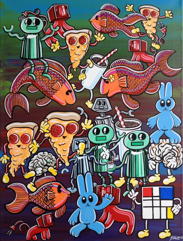 """Fluff Fuddle"" / 18"" x 24"" / acrylic on canvas / 2014"