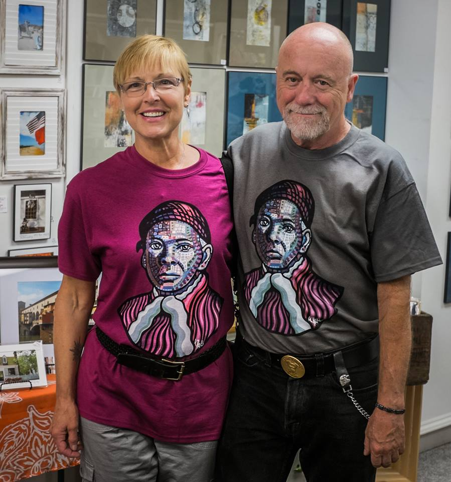 Since I painted the first portrait in 2013, I have been asked to consider making the portrait into a t-shirt design. I completed this design in 2016 and it is modeled above my my mom and stepfather. The design is available on t-shirts and mugs. In Auburn, NY look for it at  Fingerlakes Arts Store  on Genesee St. Downtown. Online sales can be made in my  shop .