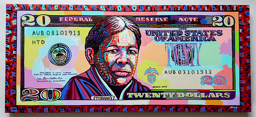 In 2016 I was commissioned to produce this Harriet Tubman $20 painting in celebration of the decision that Harriet Tubman's portrait should appear on the $20 bill. The painting was prominently displayed at  The 2nd Annual Strawberry Stroll for Harriet Tubman  event in Auburn, NY is currently on view at Auburn, NY's City Hall.