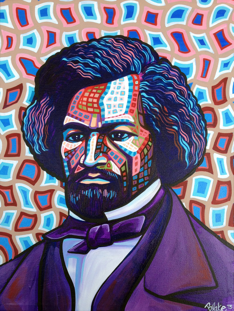 """Frederick Douglass"" / 12"" x 16"" / acrylic on canvas / 2013  (The original portrait is part of my  Social Visionaries Re-Imagined  series.)"