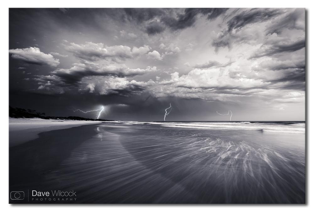 Coolum Beach Lightning B&W