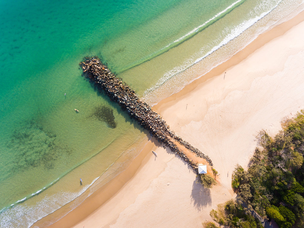 Noosa Main beach rock wall