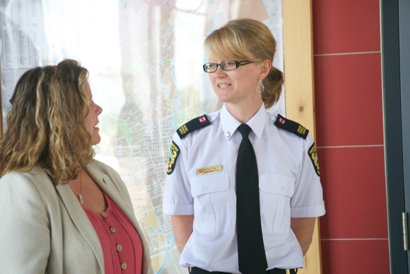 Sue Harris (at left) from Canadian Blood Services chats with Marsie MacKay about the initiative.