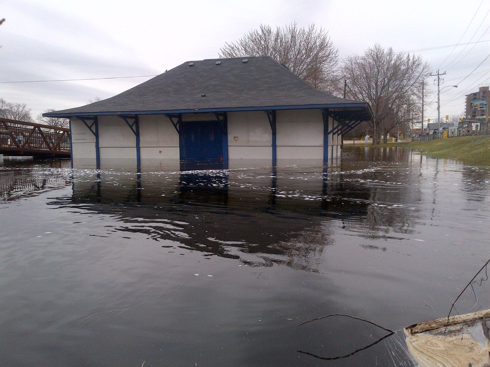 Little Lake building under water