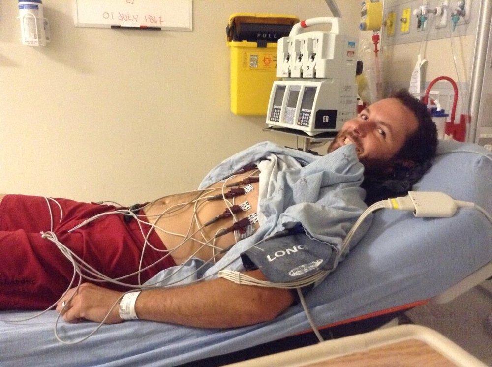 Tim Rollwagen in ER getting ECG as a precaution