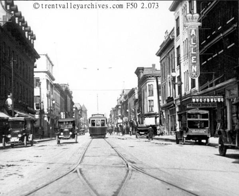 Peterborough streetcars in olden days on George St.
