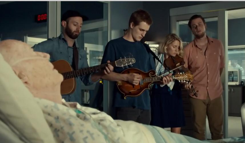 "Melissa Payne & Dylan Ireland at far right on ""Saving Hope"""