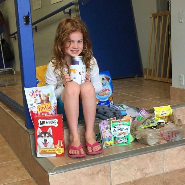 Georgia with all the donations her friends brought