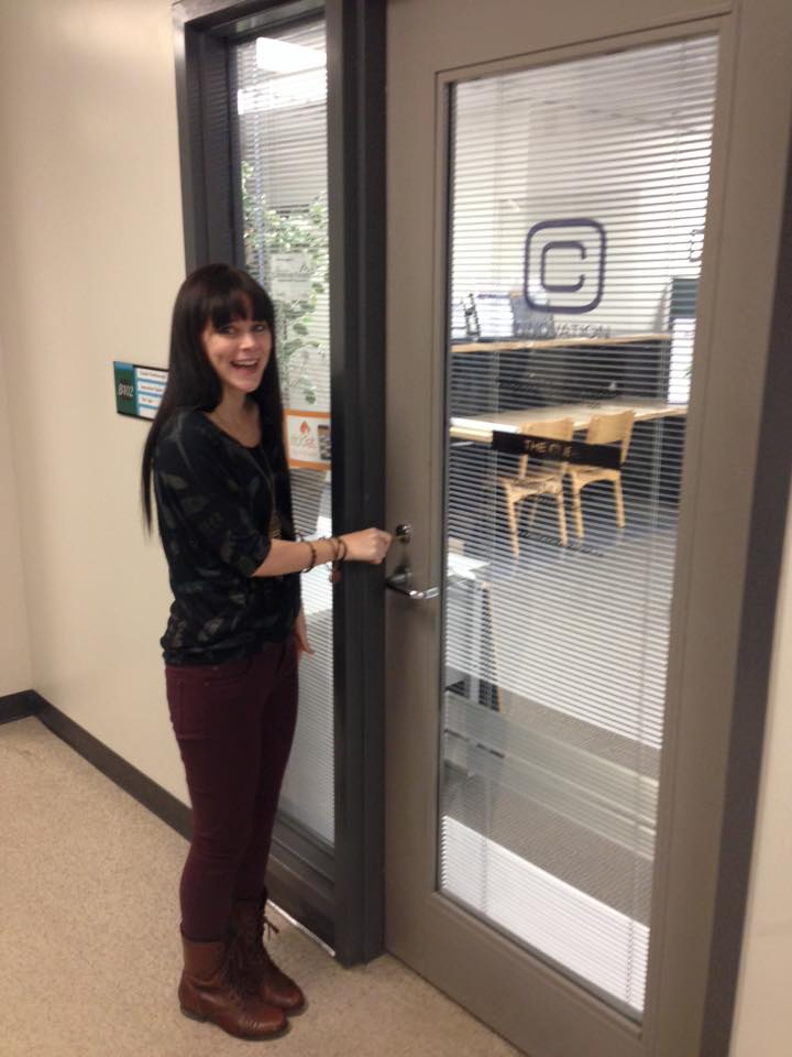 Henry getting the keys to her office space at The Cube, which will help her develop her biz