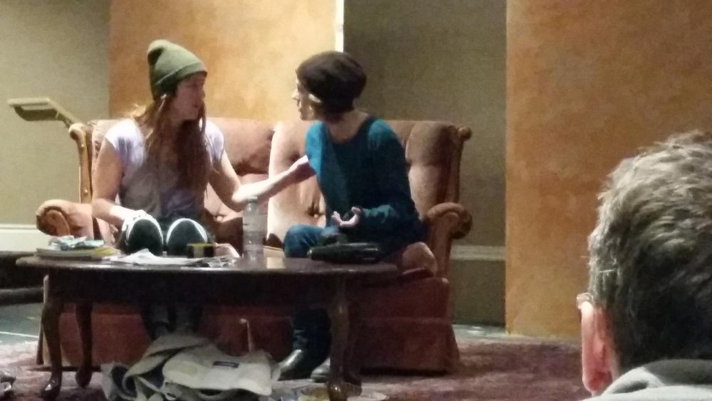 Naomi and Sarah rehearsing