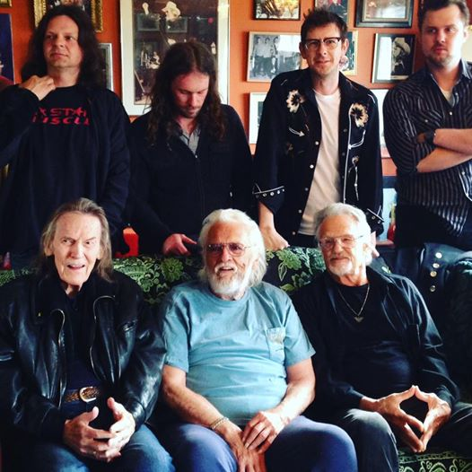 Front row: Gordon Lightfoot, Ronnie Hawkins & Kris Kristofferson. Back row: Robin Hawkins (The Hawk's son), Ryan Weber, James McKenty & Sam Weber. Photo by Leah Hawk, Facebook page