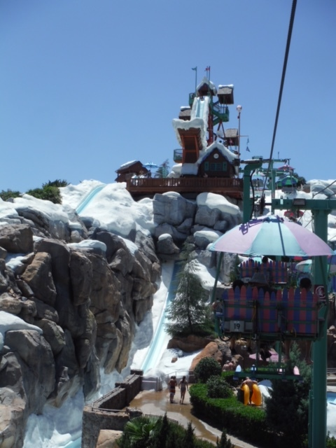 The view from the chair lift heading to the top of Blizzard Beach