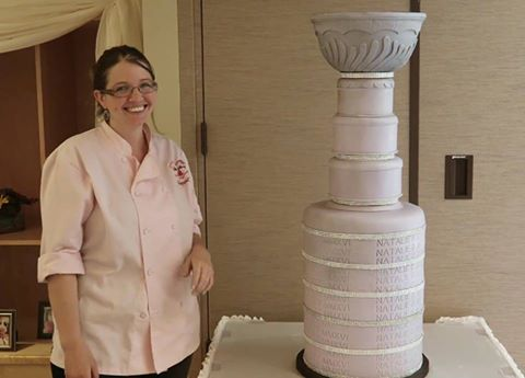 Margaret Camp with her Stanley Cup cake creation