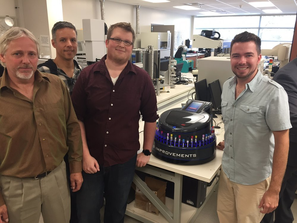 Members of the Lab Improvements team pictured at Trent University's The Cube