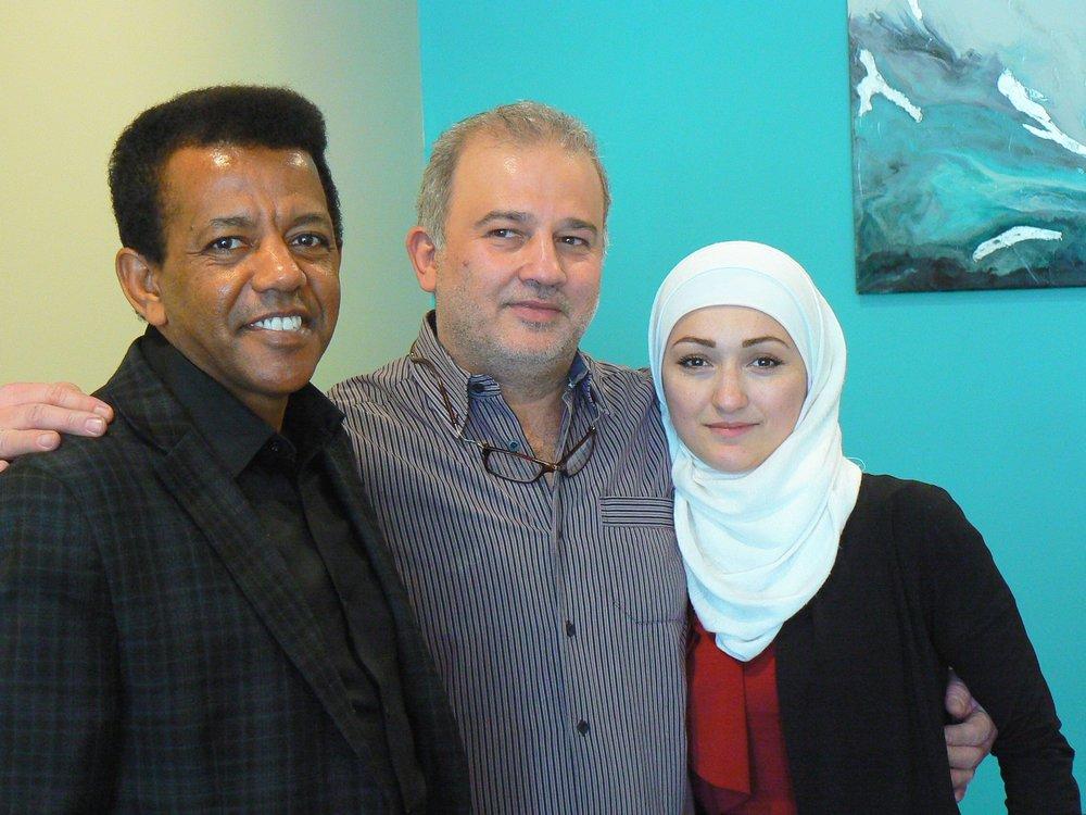 Left to Right: Professor Kenzu Abdella with Mohammad and Randa Alftih