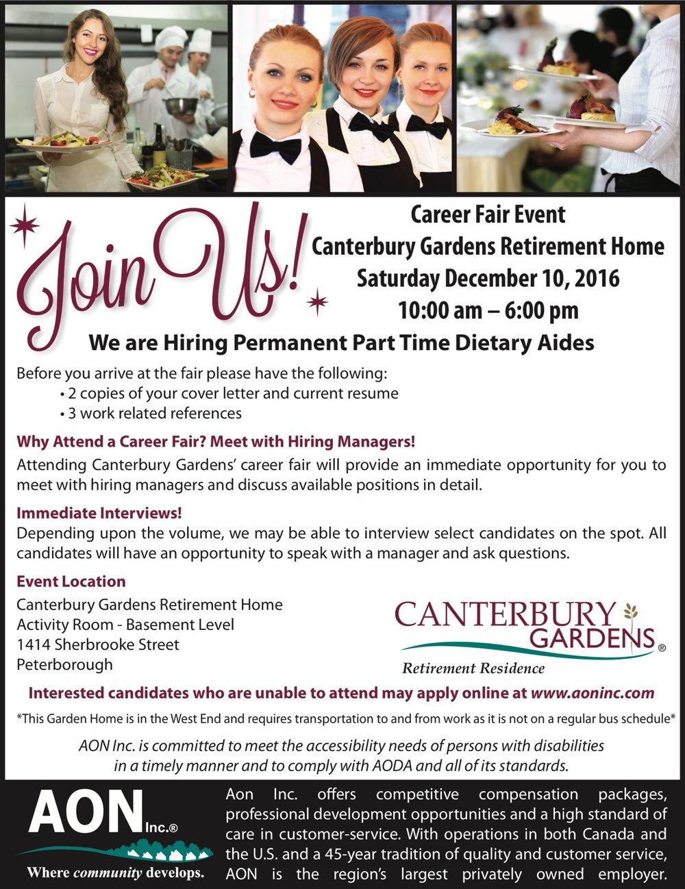 canterbury gardens career fair ptbo canterbury gardens career fair