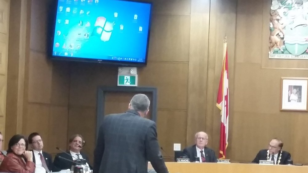 Petes President Dave Pogue presenting before City Council