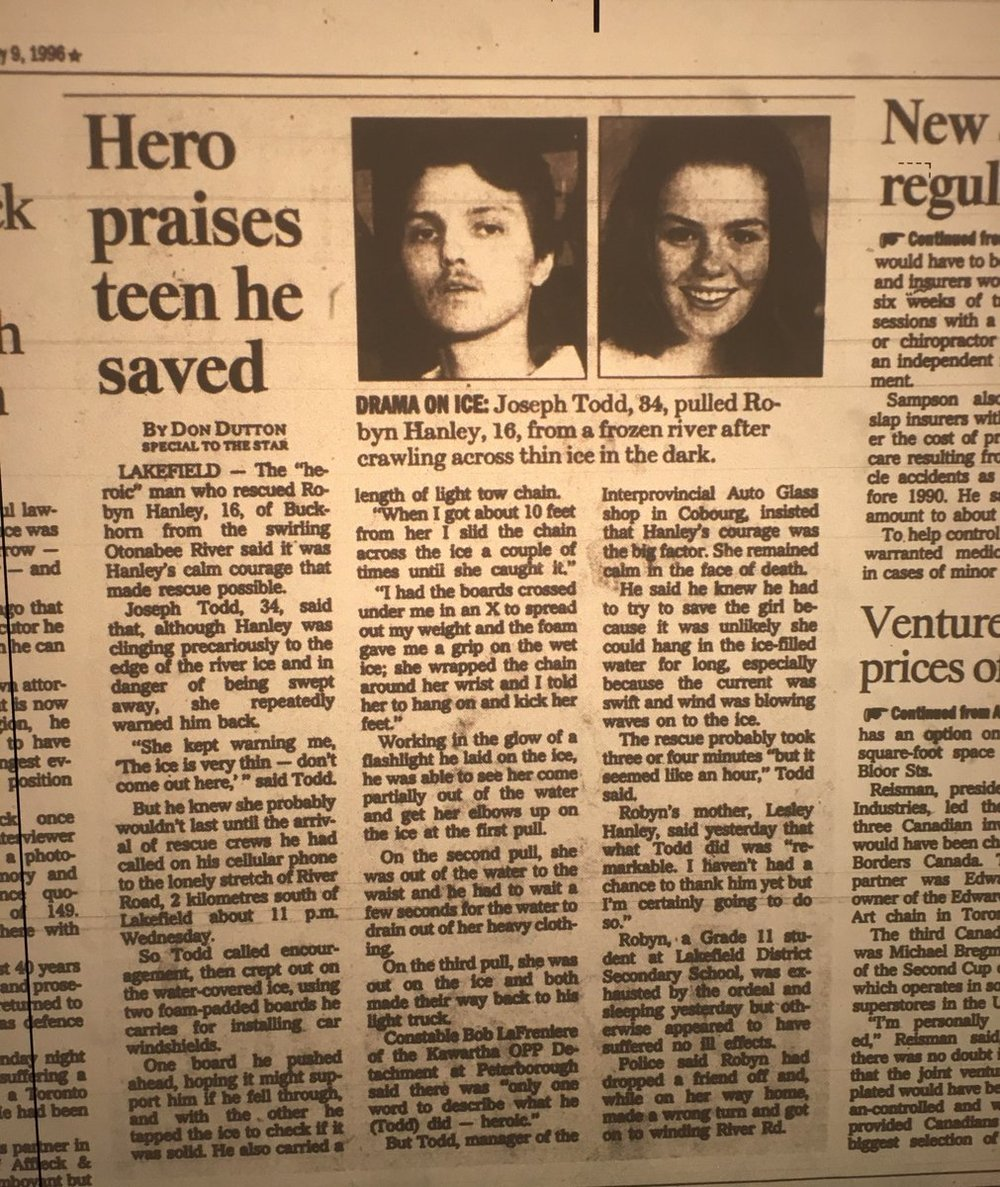 Newspaper article from February 9th, 1996 on Joseph Todd, the hero who saved Robyne
