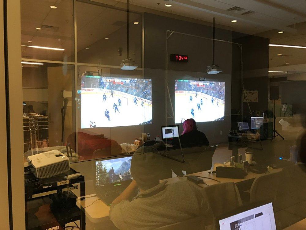 Watching hockey  while making games  Saturday night