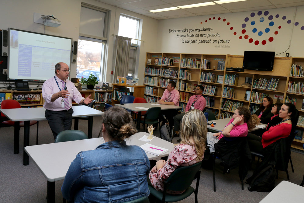 Peterborough Victoria Northumberland and Clarington Catholic District School Board Director of Education Michael Nasello leads a focus group at St. Alphonsus Catholic Elementary School in Peterborough on Wednesday, February 22nd, 2017.