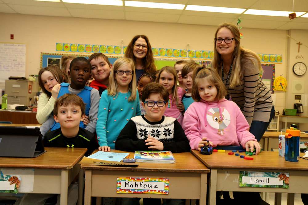 Six-year-old Mahfouz gets a warm welcome from his new classroom at St. Teresa Catholic Elementary School in Peterborough.