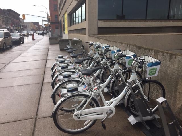 Bikes at VentureNorth Building in downtown Peterborough