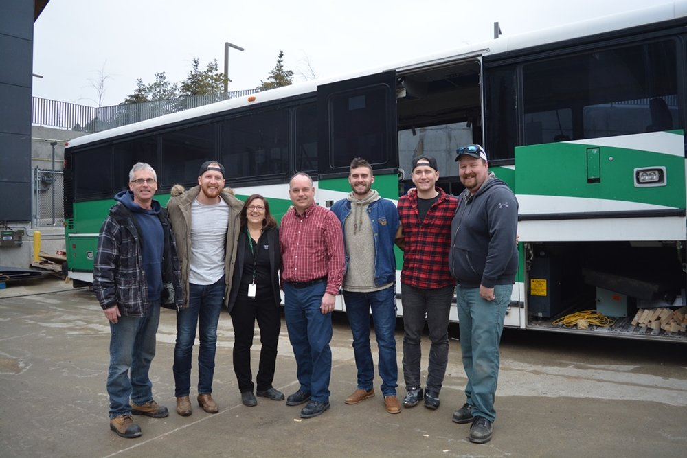 March 20th: Paul Jordan, Coordinator, Trades Fundamentals program; band member Taylor Abraham; Maxine Mann, Dean, School of Trades and Technology; School of Trades and Technology Academic Chair Rod McLeod; band member Connor Stephen; band member Bobby Martin; and Band Manager.