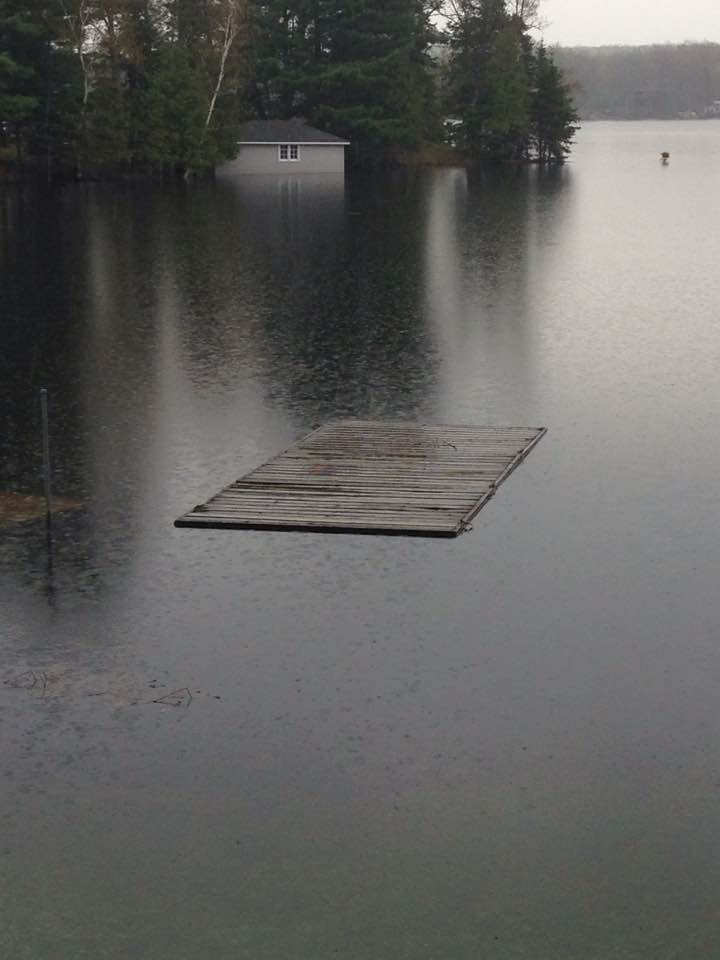 Dock floating in Bay on Stoney Lake (picture via Stoney Lake Facebook page)