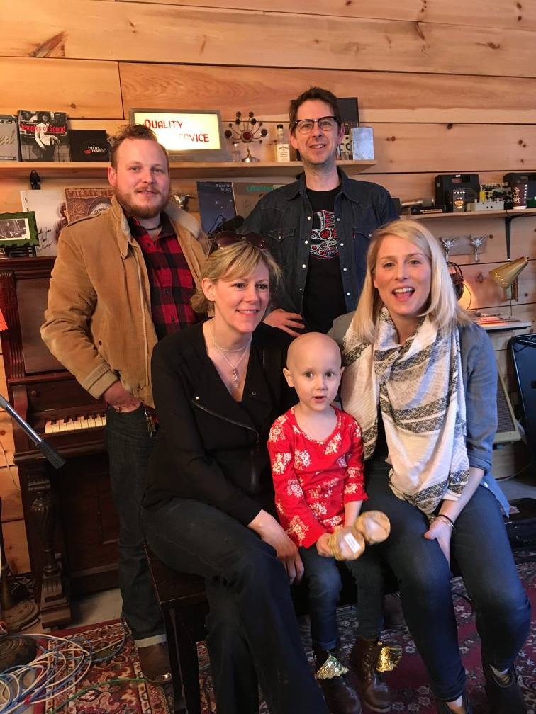 """Melissa Payne, Natalie McMaster, Jimmy Bowskill, James McKenty and Eliza Vivian during recording session of """"Strong Heart"""""""