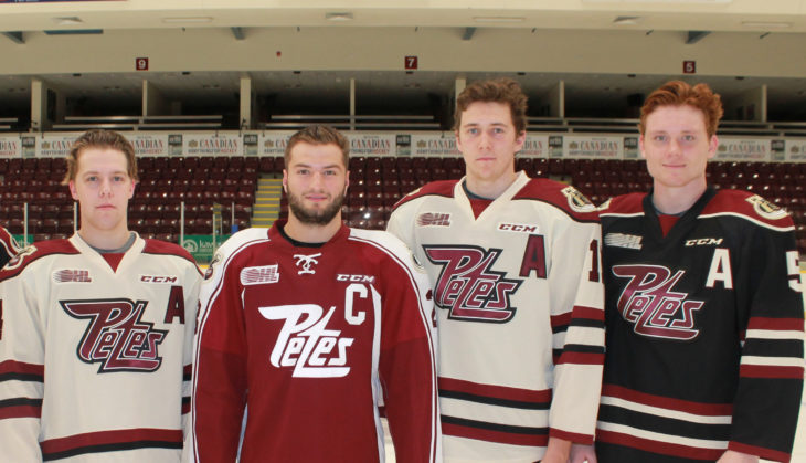 Logan DeNoble (2nd from left) named Captain of Petes