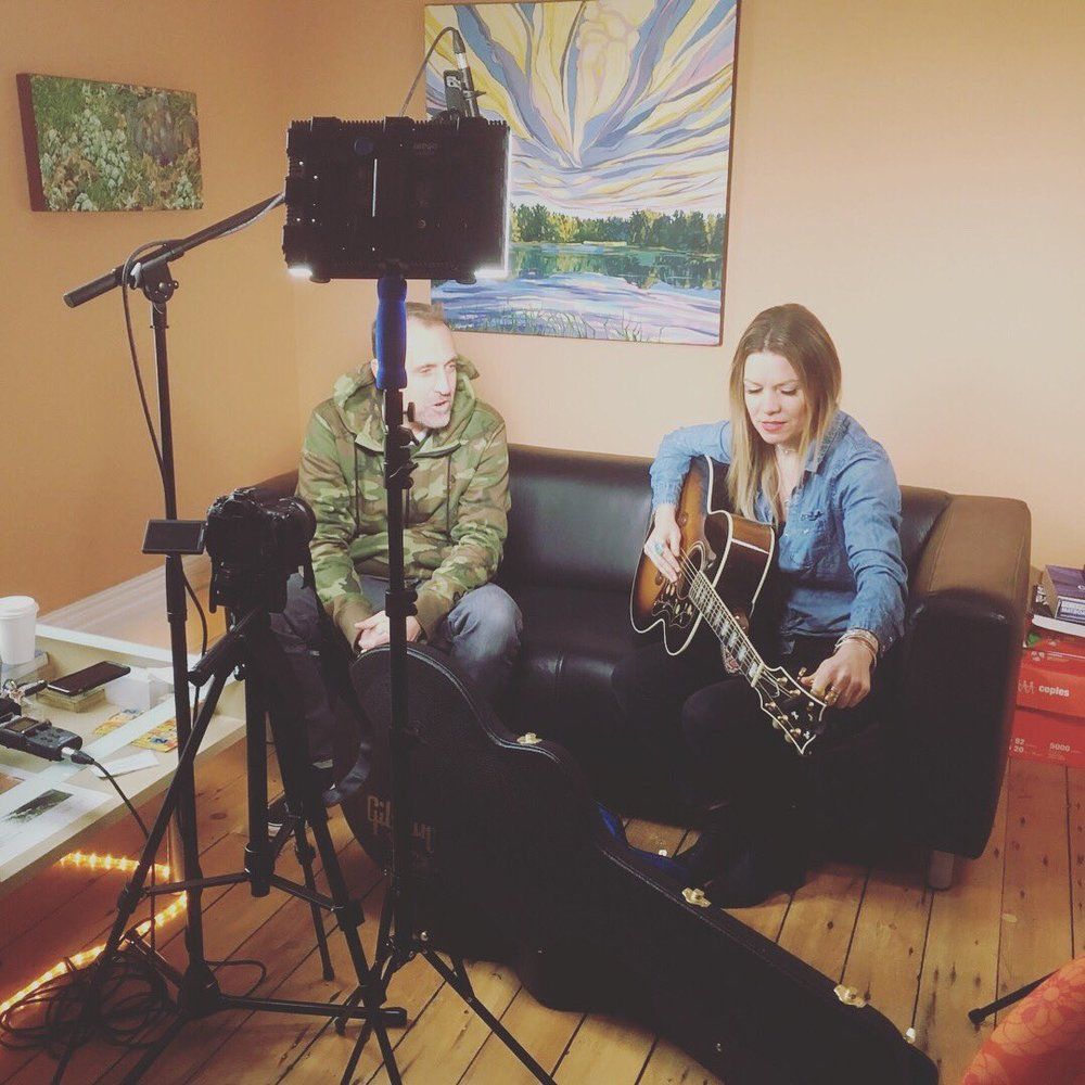 """On set: """"PTBOCanada"""" Co-host Neil Morton with musician Kate Suhr on our new show"""