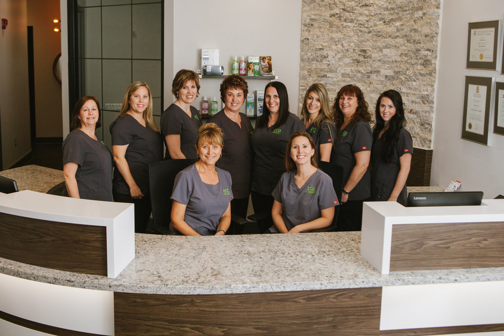 Left to right (back row): Lori, Erin, Sue H, Sue W, Becky, Val, Janet, Elyse; Front Row, left to right: Dr. Verona Sulja, Dr. Koren Bennetts (Photo by Tracey Allison Photography)