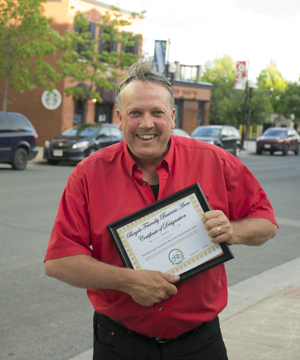 Mr. Downtown Terry Guiel with the bike-friendly designation