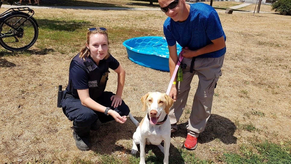 An Animal Control Officer and pet owner practising responsible pet ownership. All dogs must be on a leash!
